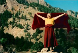 Venerable Khempo Tsultrim Gyamtso Rinpoche flying